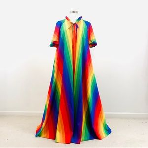 Vintage 70s rainbow long gay pride LGBTQ Nightgown